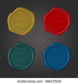 Different color Confidential Wax Seals with embossed circular floral frame