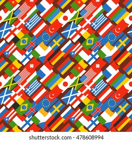 Different color flags seamless background