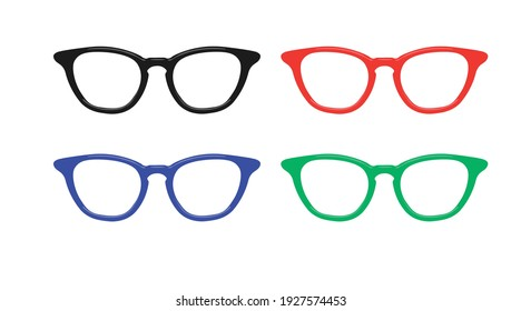 Different Color Glasses Frames. Vector isolated set of glasses icons