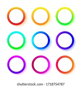 Different color gradient round frames. Vector set of rings neon gradient. Vector illustration isolated on white background.