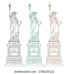 different color of line art of statue of liberty