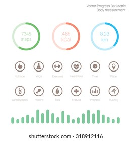 Different color measuring stuff elements vector collection and icons set with progress bar sports nutrition applications on white background