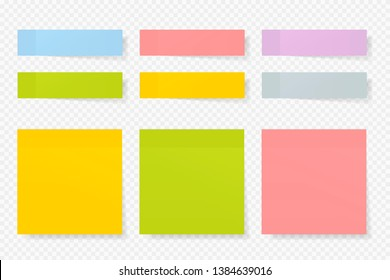 Different color paper stickers vector collection. Advertising mockup isolated on transparent. Place any text on it.