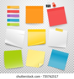 Different color paper stickers vector collection. Advertising mockup isolated on transparent. Place any text on it