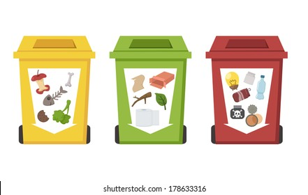 different color recycle bins