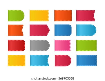 Different color shopping tags vector clipart isolated on white. ready for a text