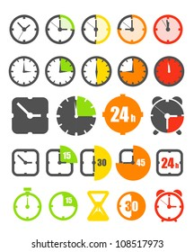 Different color timer icons collection isolated on white