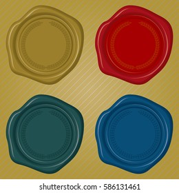 Different color Wax Seals with embossed circular floral frame