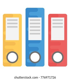 Different colored files, flat vector icon represents documentation