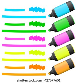 different colored high lighters with markings for advertising usage