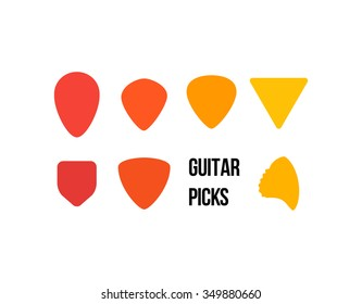 Different Colored Picks - Teardrop, Jazz, Classic, Equilateral Tringle, Pentagon, Large Triangle, Sharkfin - Isolated Illustration