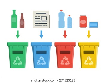 Different colored recycle bins, waste management concept