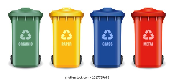 Different colored recycle waste bins. Waste types segregation recycling. Multicolored garbage containers for different types of waste: organic, paper, glass, metal. Vector illustration