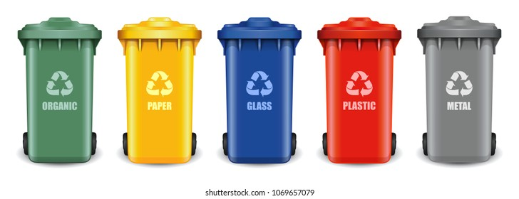 Different colored recycle waste bins. Waste types segregation recycling. Multicolored garbage containers for different types of waste: organic, paper, glass, plastic, metal. Vector illustration