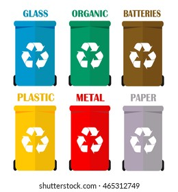 Different colored recycle waste bins vector illustration, Waste types segregation recycling. Organic, batteries, metal, plastic, paper, glass waste. Colorful recycle garbage bins for waste separation.