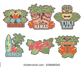 Different colored stickers and badges set with symbols of hawaiian culture. Vector surfboard and wildlife exotic badge, surfing and green palm illustration