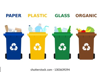Different colored trash cans with paper, plastic, glass and organic waste suitable for recycling. Segregate waste, sorting garbage, waste management. White background. Vector illustration, flat style.
