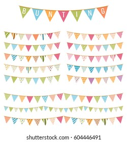 Different colorful bunting for decoration of invitations, greeting cards etc, bunting flags, vector eps10 illustration