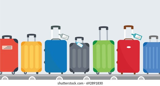 different colorful luggage bag. suitcase set on conveyor belt. Baggage claim at terminal airport  travel bags vector background flat design. cover page cartoon. concept & creative vacation holiday