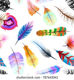 A lot of different colorful magic feathers, seamless pattern on white