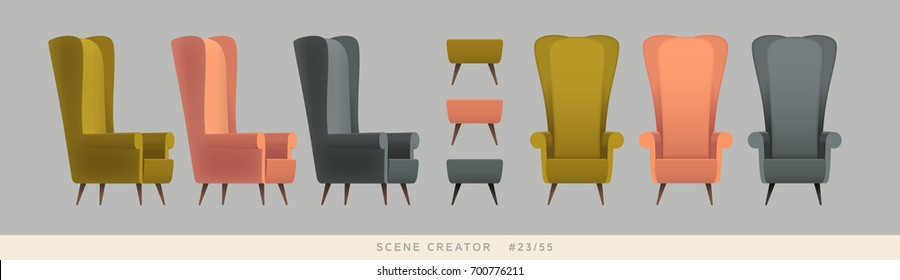 Different colors armchairs. Isolated vector objects. Scene creator set.