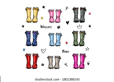 Different colors children wellies collection. Rubber boots autumn fall baby concept. Vector illustration in watercolor style. Decoration family card on white background.