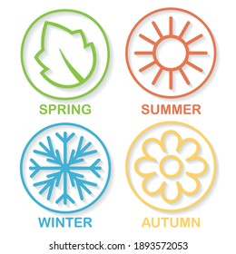 DIfferent colors four nature seasons icon isolated on white. Outline circle symbols with leaf, sun,sowflake and flower signs. Nature weather circle with shadow