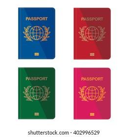 Different colors passports. Flat design. Vector illustration