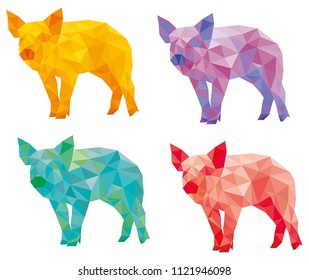 different colors pig
