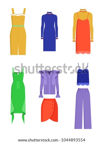 3551784a683e0c Different colors summer dresses and another clothing, vector illustration  isolated on white background, red skirt and trousers, blue and lilac shirts  - ...