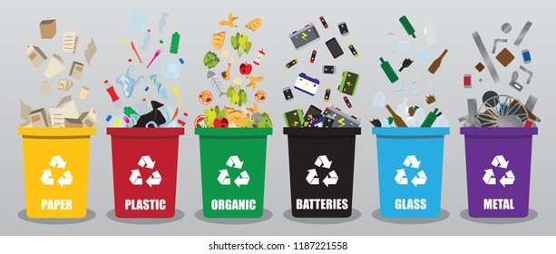 Different coloured recycle waste bins vector illustration, Waste types segregation recycling vector illustration. Organic, batteries, metal plastic paper, glass in drop and full garbage