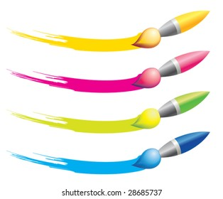 Different colours brushes for design