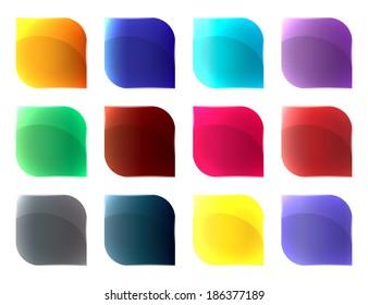 Different colours glass buttons set