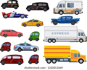 Different commercial truck and car