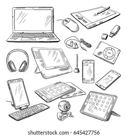 Different computer gadgets. Doodle vector illustrations isolate on white. Gadget sketch drawing, electronic laptop and video camera.