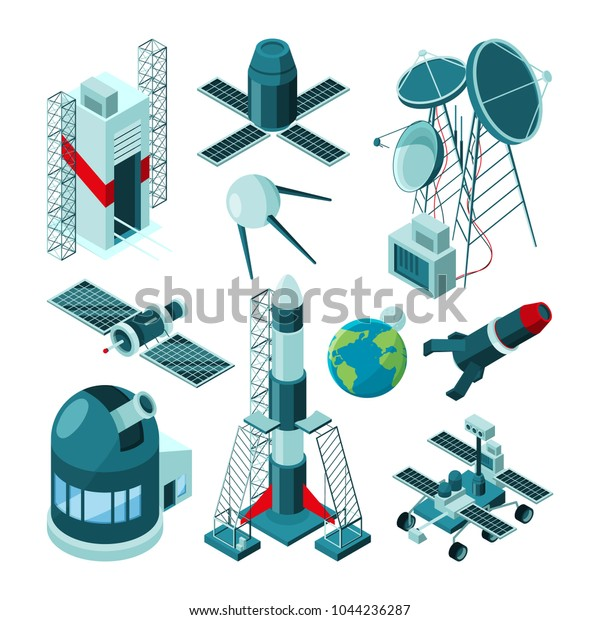 Different Constructions Space Center Rocket Launch Stock Vector