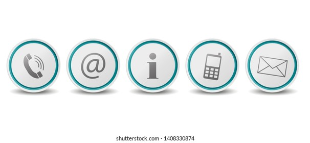 Different Contact Buttons With Shadow - Vector Illustrations - Isolated On White Background