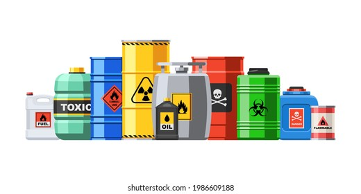 Different container with hazard chemical liquid in row line. Compressed gas and oil safety tank with dangerous radioactive flammable substance vector illustration isolated on white background