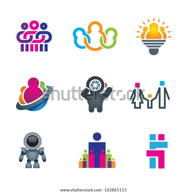 Different Creative People Interacting Logo Creating Stock