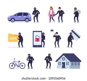 Different crimes concept. Flat style vector illustration isolated on white background.