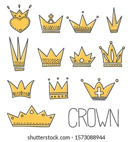Different crowns vector concept in doodle style. Hand drawn illustration for printing on T-shirts, postcards. Icon and logo idea.