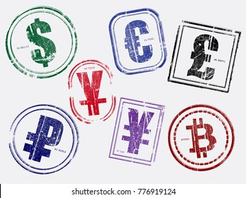 Different currency money stamps