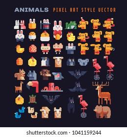 Different cute animal characters pixel art icons set, design element of children's book, application, logo, sticker. Game assets 8-bit sprite sheet. Isolated vector illustration.