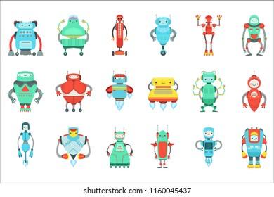 Different Cute Fantastic Robots Characters Set. Bright Color Childish Cartoon Design Androids