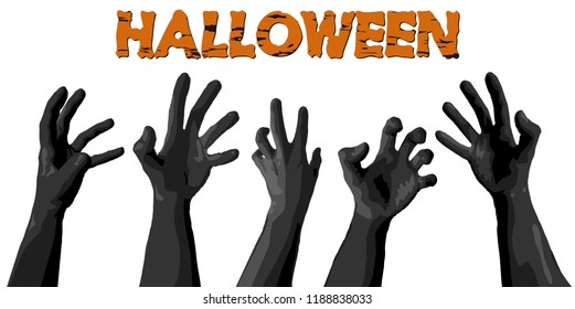 different dark shadowed scarry zombie hands for halloween time