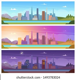 Different day time. Night morning night day outdoor city landscape vector cartoon backgrounds