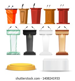 Different Debate Rostrum And Podium Set Vector. Collection Of Pedestal, Wooden Tribune And Glass Podium With Microphone For Conference University Or Classroom. Realistic 3d Illustration