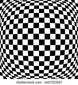 Different deform, warp distortion, deformation effect on checkered (chequered), chess, pepita black and white squares pattern