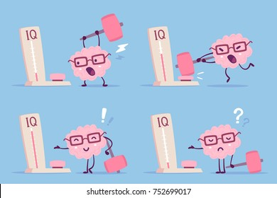 Different degree of impact with a hammer. Vector set of illustration of pink color human brain with glasses and measure level iq on blue background. Flat style design of character brain