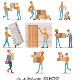 Different Delivery Service Workers And Clients, Smiling Couriers Delivering Food And Equipment From Shop And Mailmen Bringing Packages Set Of Illustrations